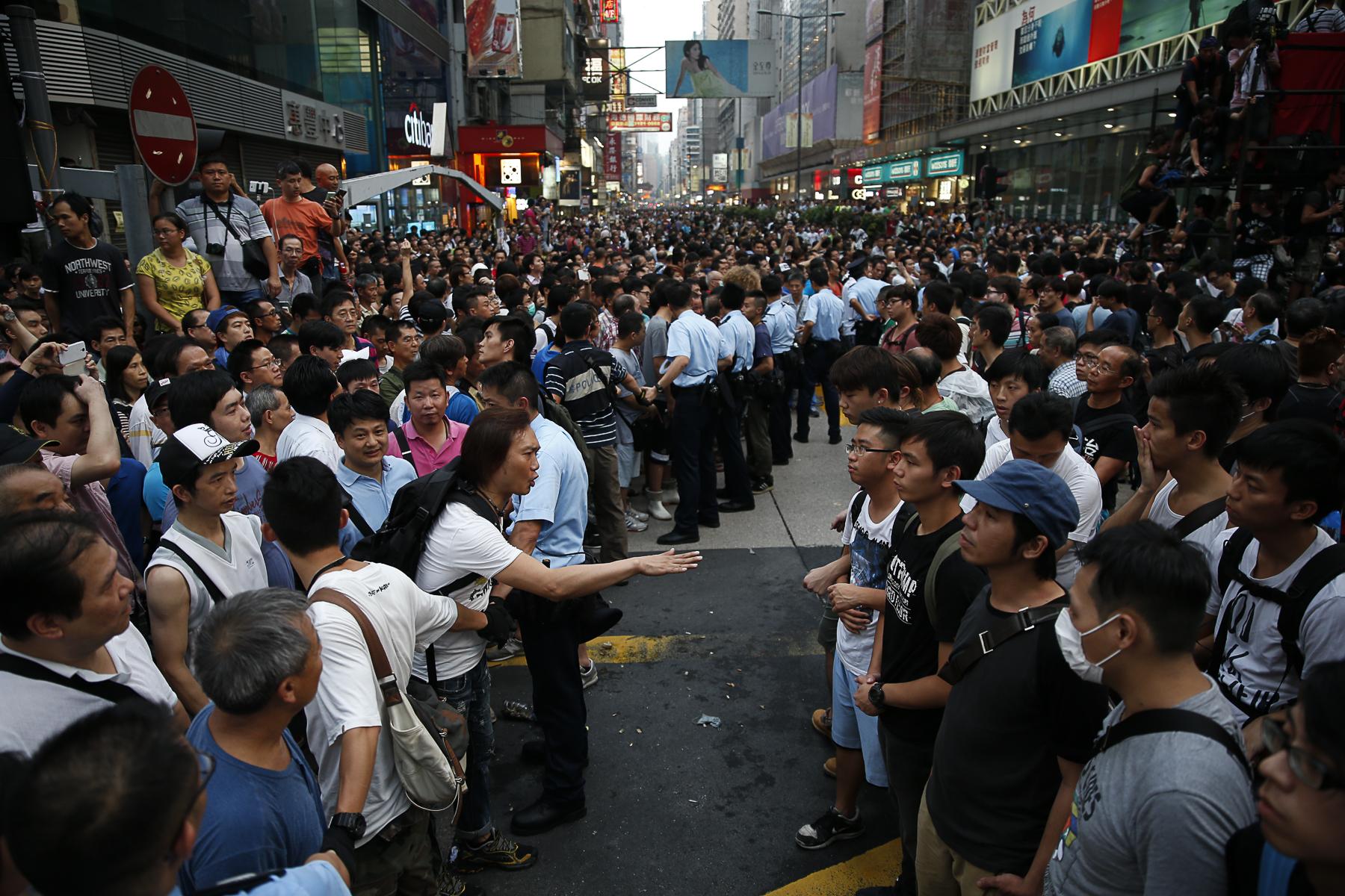 Manifestations pro-démocratique, le leader un étudiant de 17 ans Joshua Wong