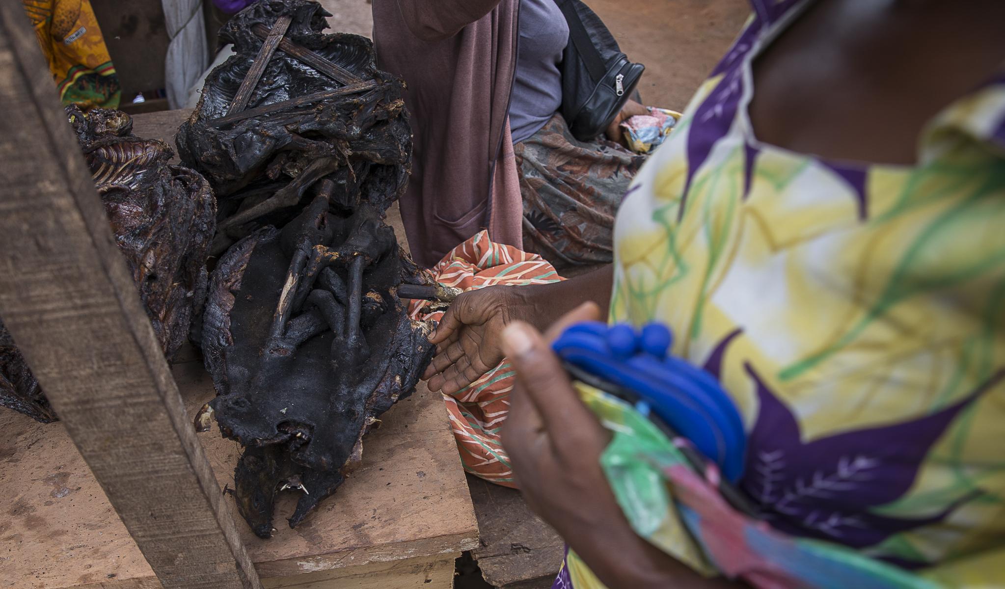 Siges fumés sur une étale clandestinne du marché de Bertoua sur la route de Yaoundé.