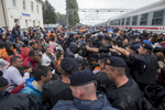 Croatie, Septembre 2015. Des réfugiés Afghans, Irakiens et Syriens tentent de forcer le passage vers un train en gare de Tovarnik. Bagarre sur les rails pour atteindre le train.