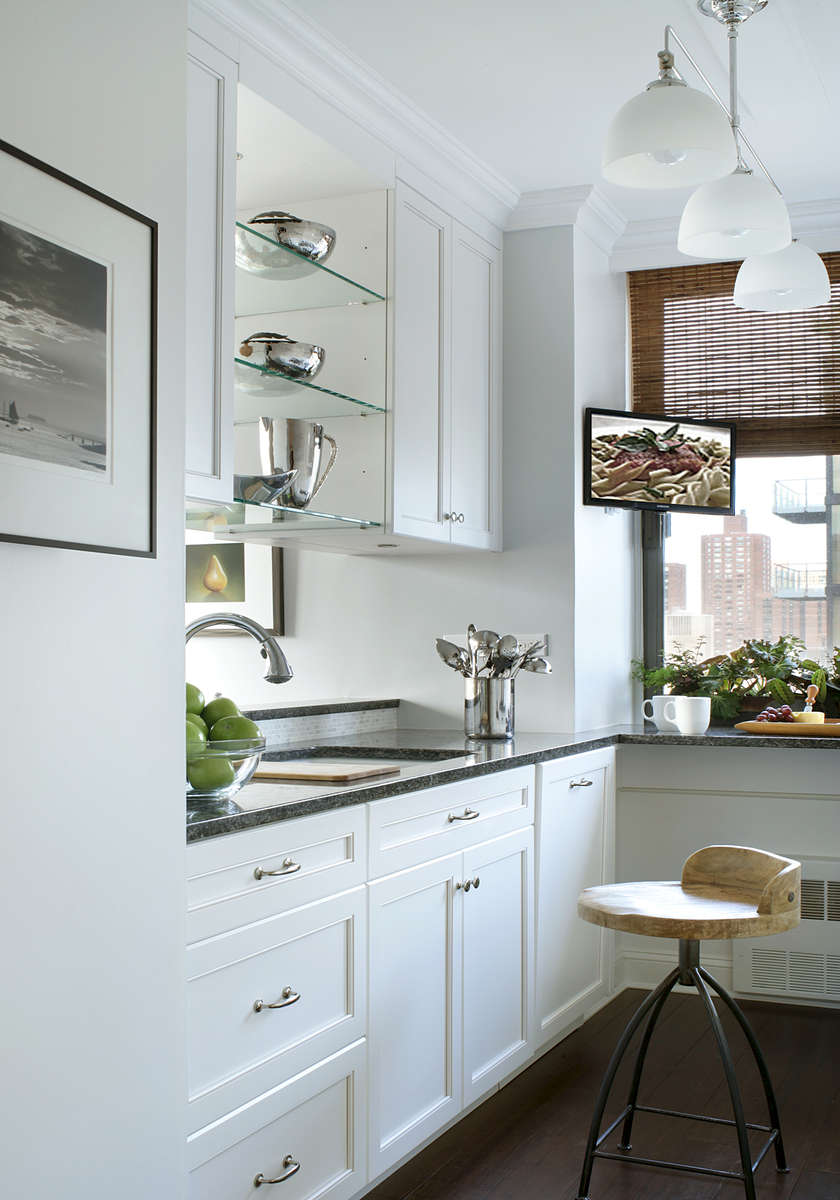 NYC white transitional kitchen