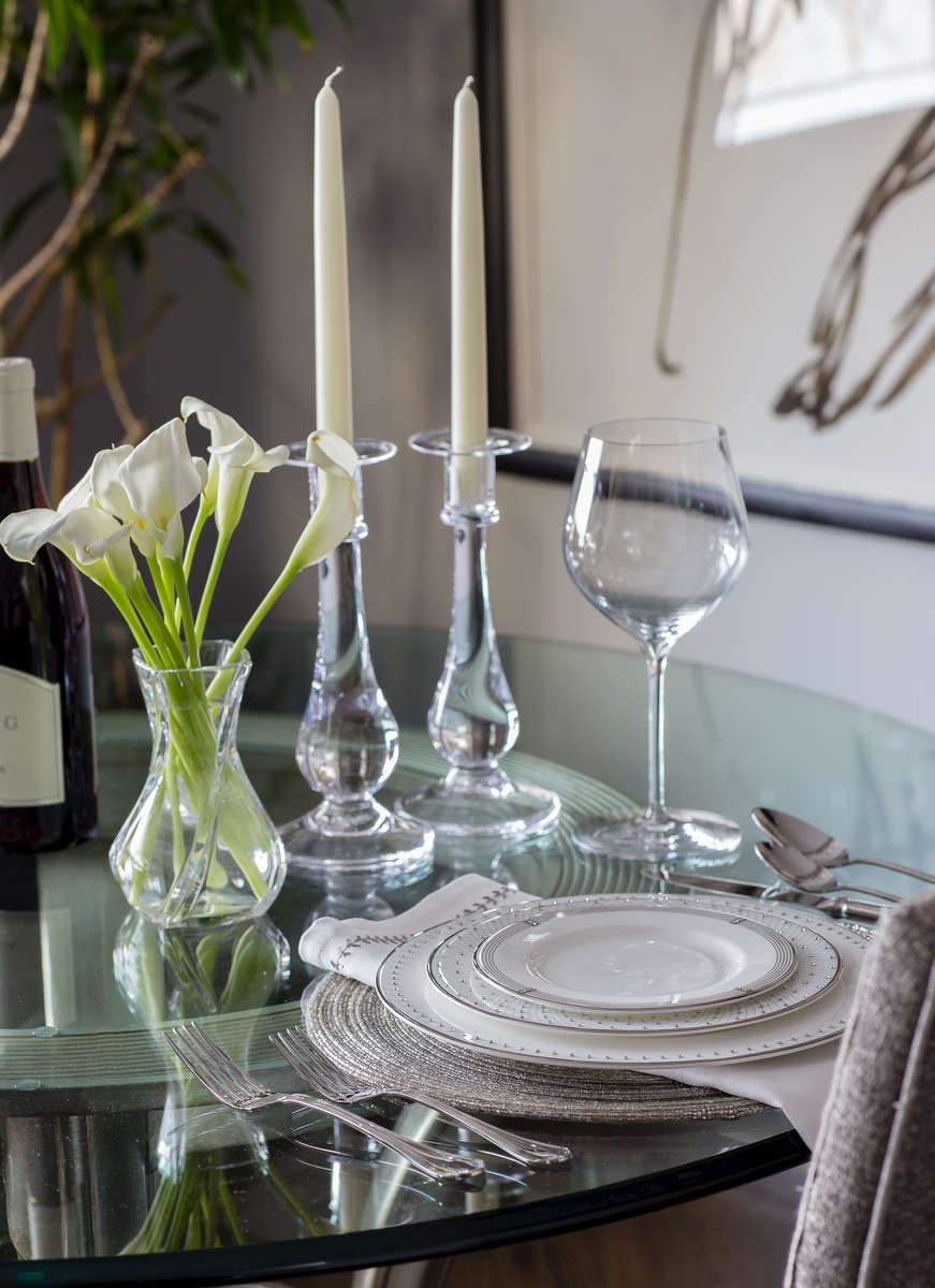 Modern white and glass table setting