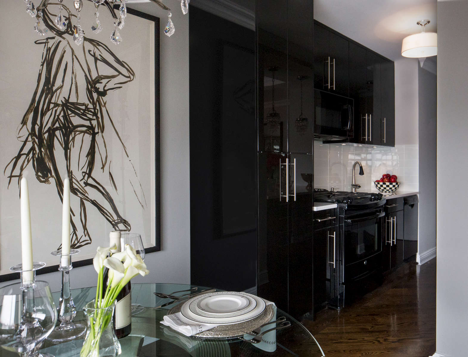 High black lacquered galley kitchen