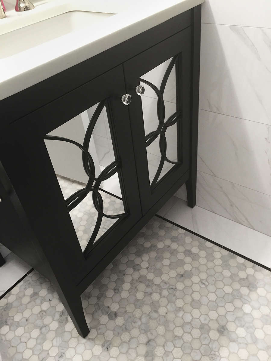 furniture guild black and mirrored bathroom vanity