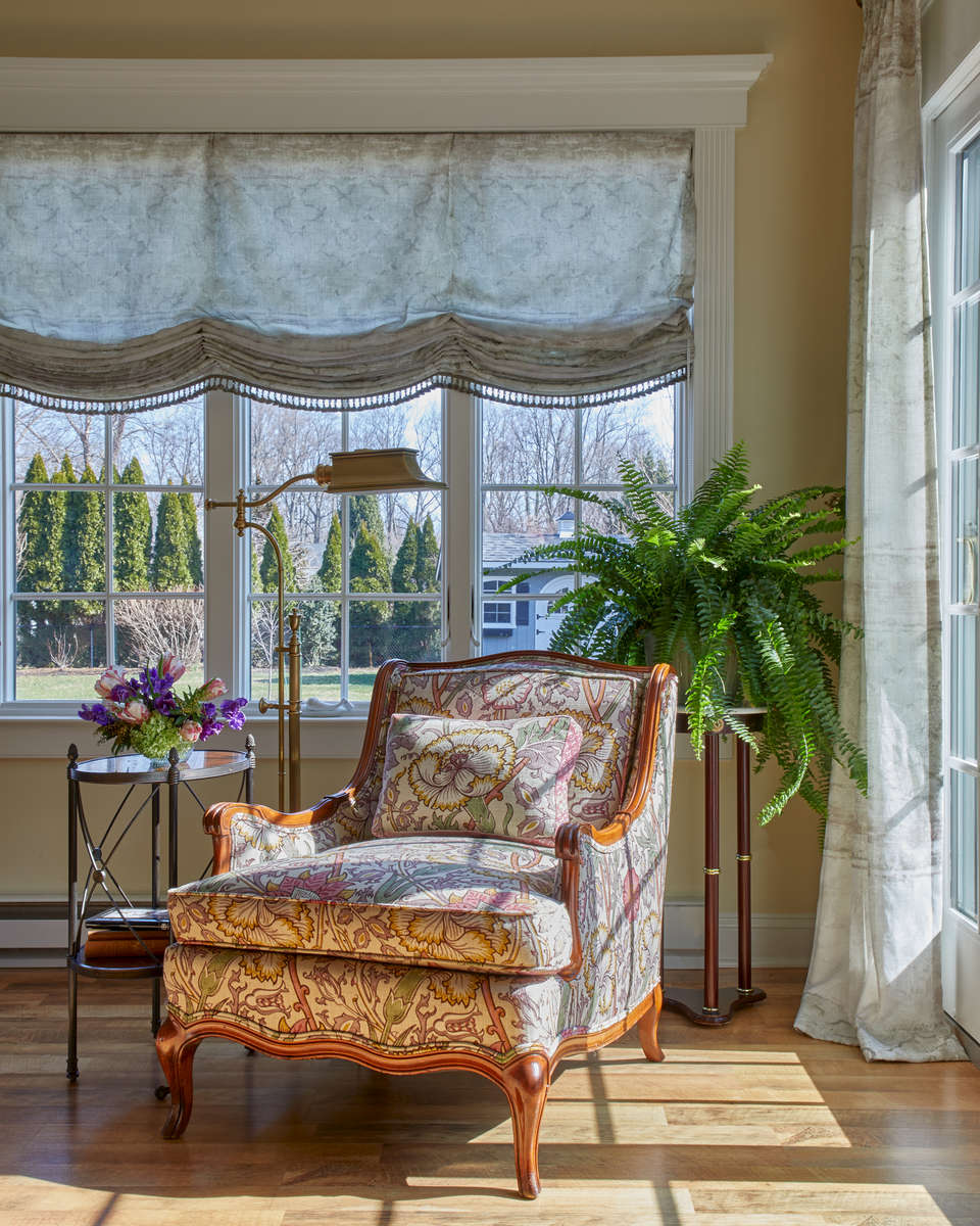 sunroom with william and morris fabrics
