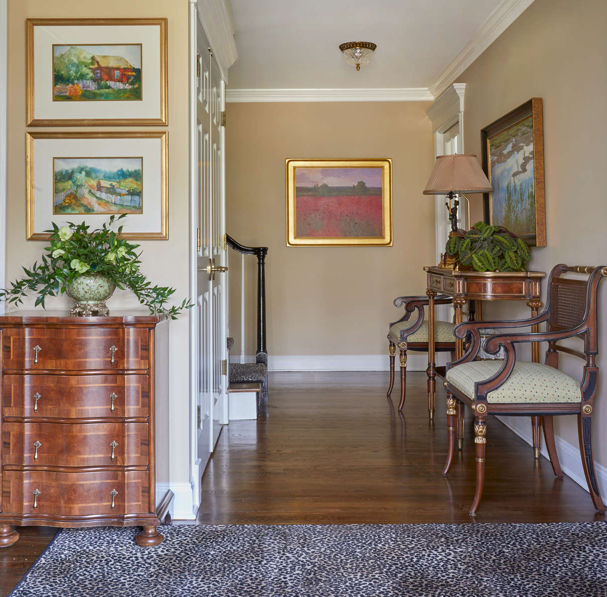 Foyer with leopard rug in rumson new jersey
