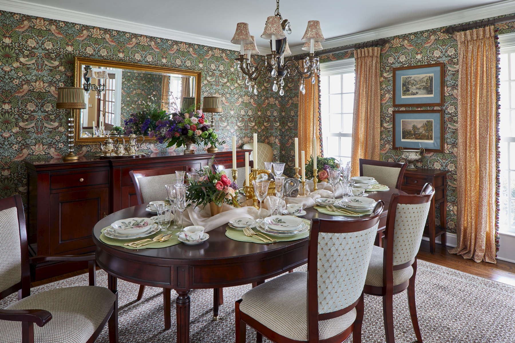 william and morris wallpaper strawberry theif in formal dining room