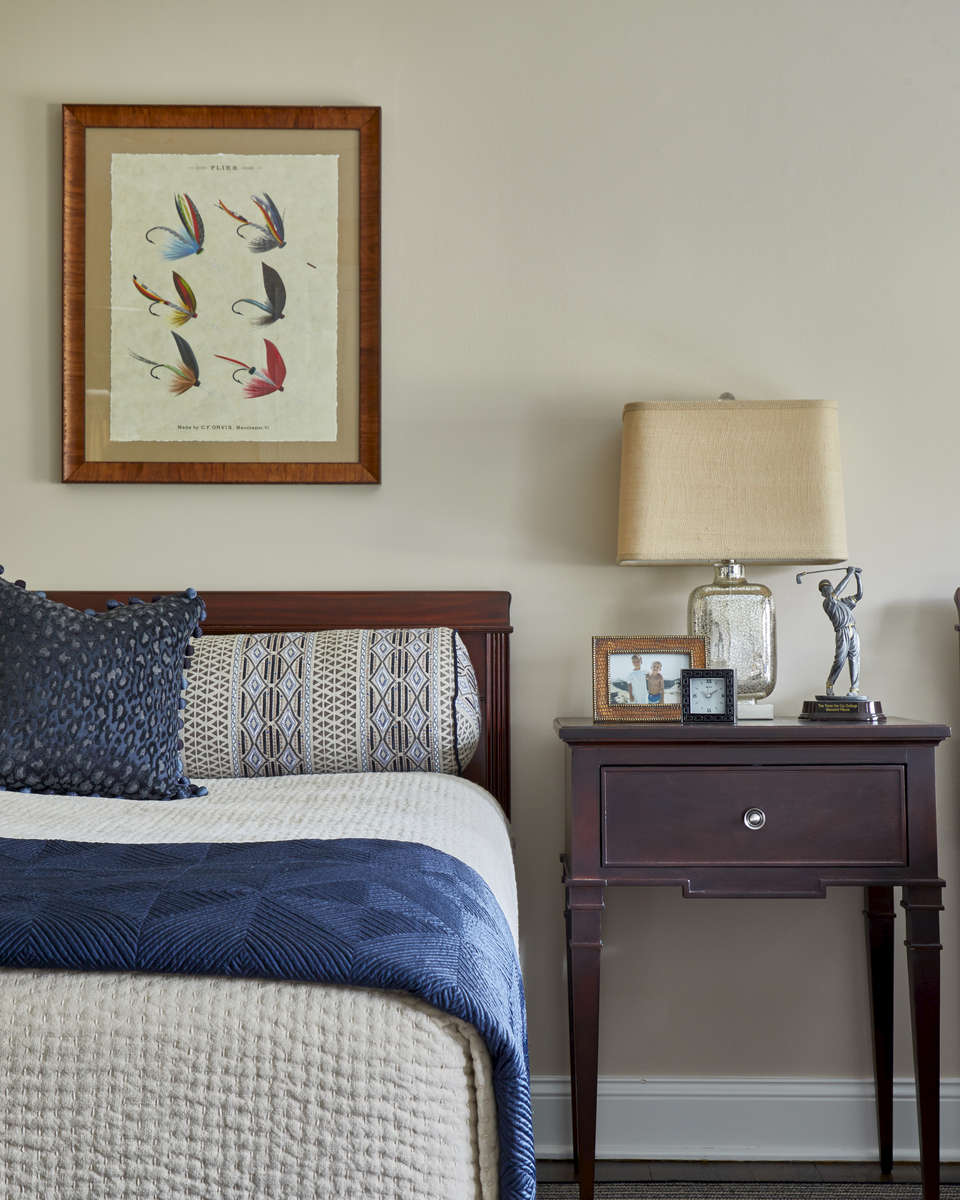 navy and taupe boys bedroom