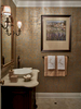 powder room with thibaut curtis damask bronze metallic