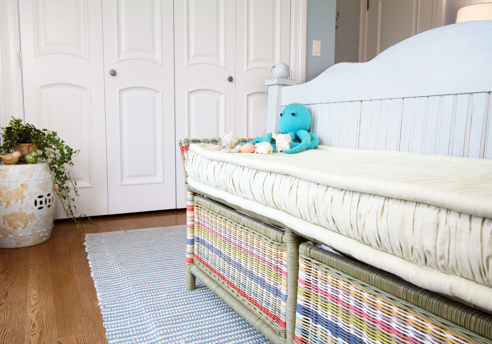 beach house colorful wicker bed end bench