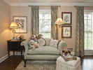 Formal sitting room with william and morris drapery fabrics artichoke