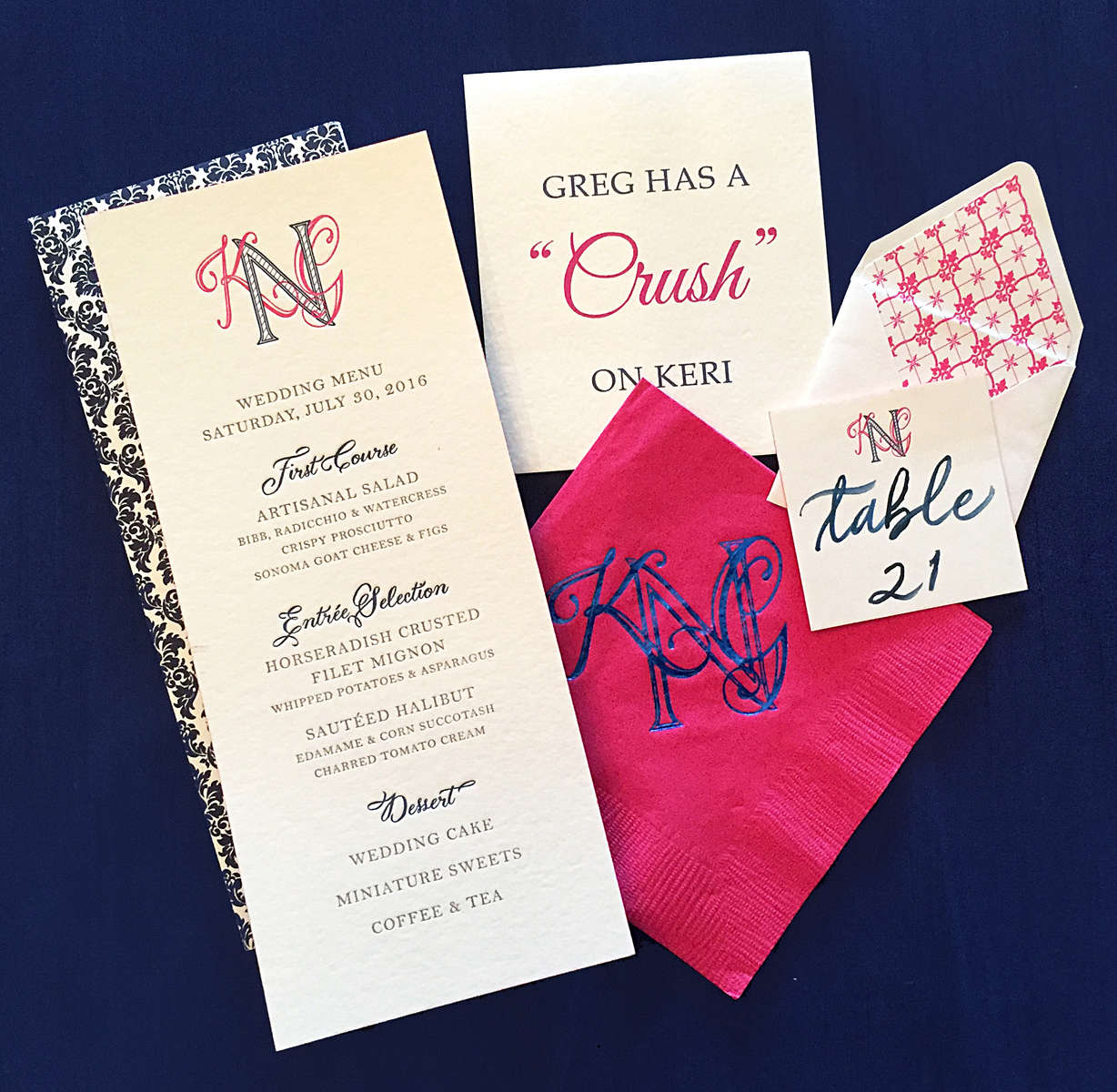 magenta and navy blue wedding dinner menu
