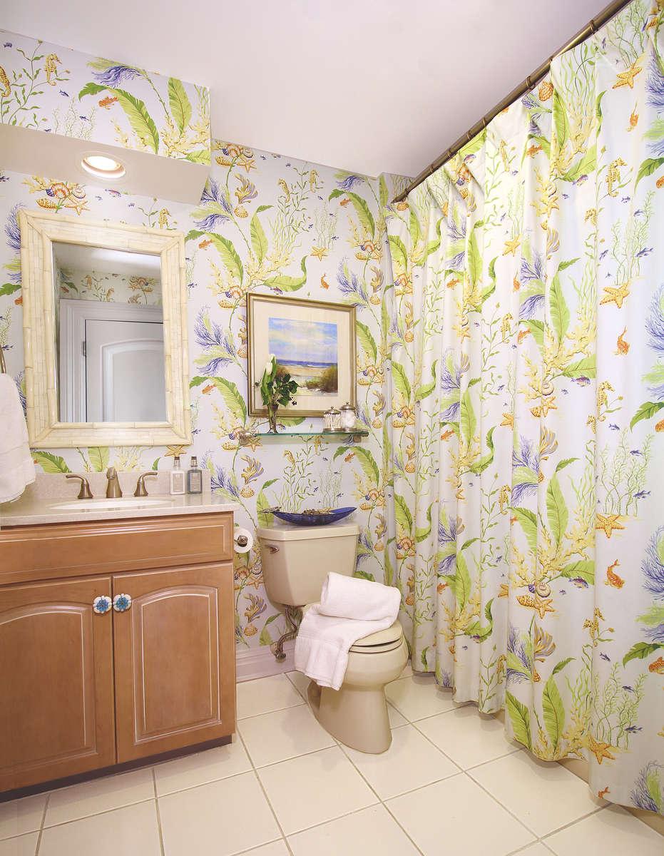 beach house bathroom with thibaut tidal pool