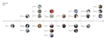 A bird's-eye view of the Portholes - H TimeLine, showing how all the years and decades branch off one horizontal line.