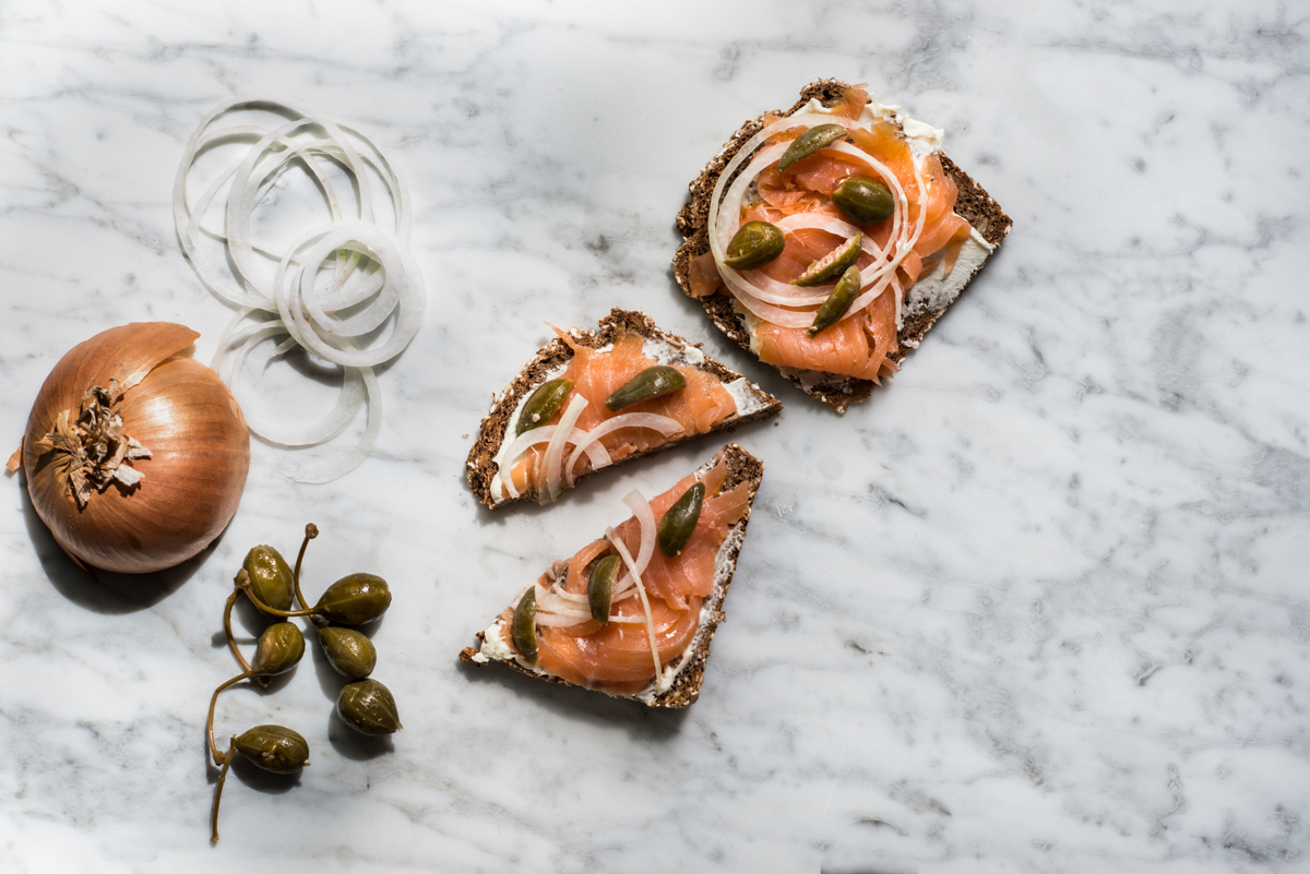 salmon and bread with capers and creme fraiche