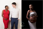 Two maternity photographs shot at Moondance Photography's West London studio.