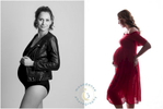 Two modern and fashionable maternity photographs of a young mum-to-be.