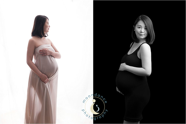 Two maternity photography portraits shot in Nemi's West London studio.