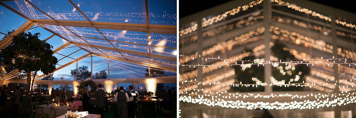 Clear tent and party lights for a Northern Michigan lakeshore wedding.