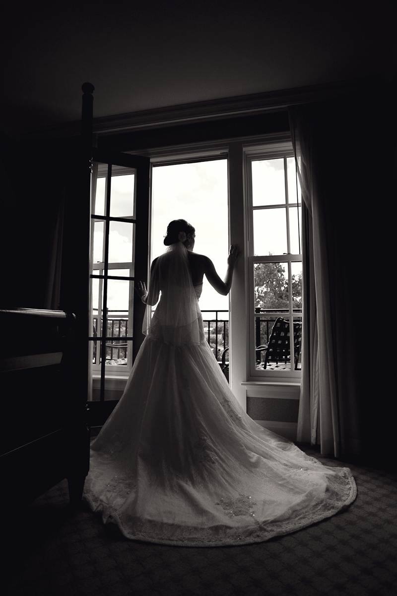 black and white bride in doorway.