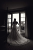 black and white bride in doorway.