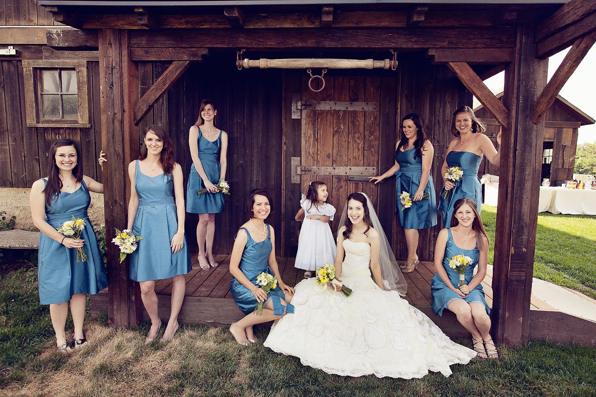 Cute bridesmaids in blue at a Misty Farms, Ann Arbor Michigan wedding.