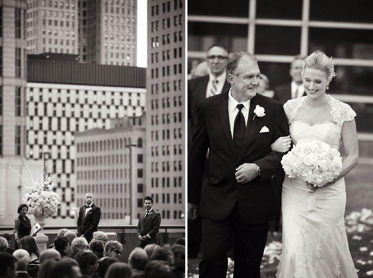 Rooftop wedding in Detroit, Michigan.