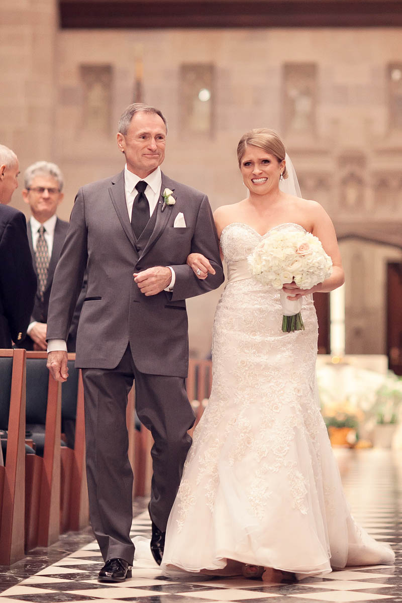 Father and bride walking down the aisle at the Cathedral of the Most Blessed Sacrament, Detroit Michigan wedding.