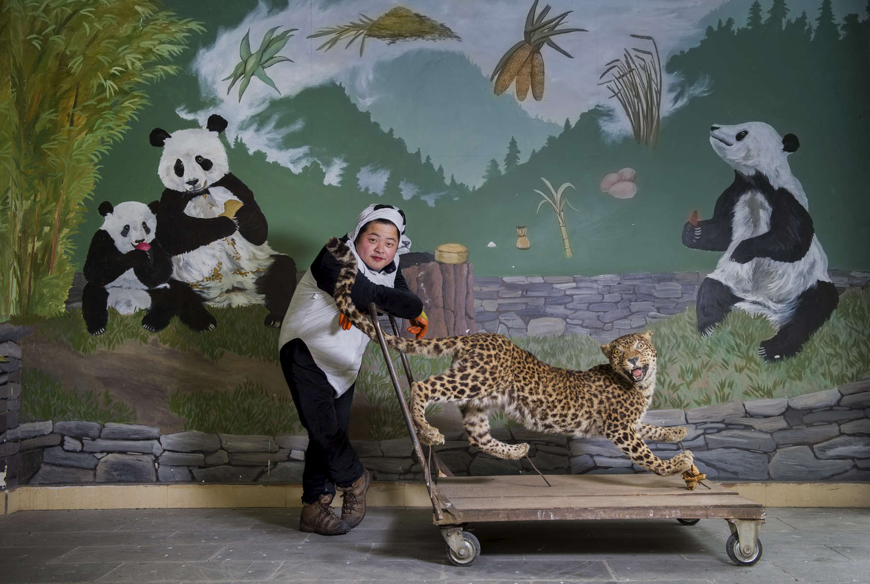 Gao Xiao Wen poses for portraits at  the Wolong China Conservation and Research Center for the Giant Panda in Sichuan province, China November 4, 2015.  (Photo by Ami Vitale)