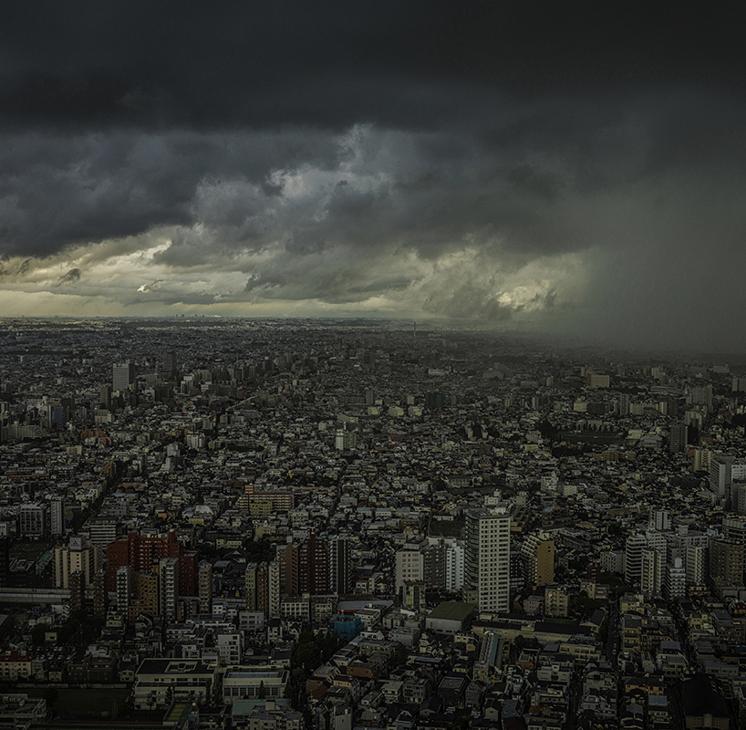 Sheets of rain bear down on the city from three converging typhoons.  Shinjuku, Tokyo, Japan.