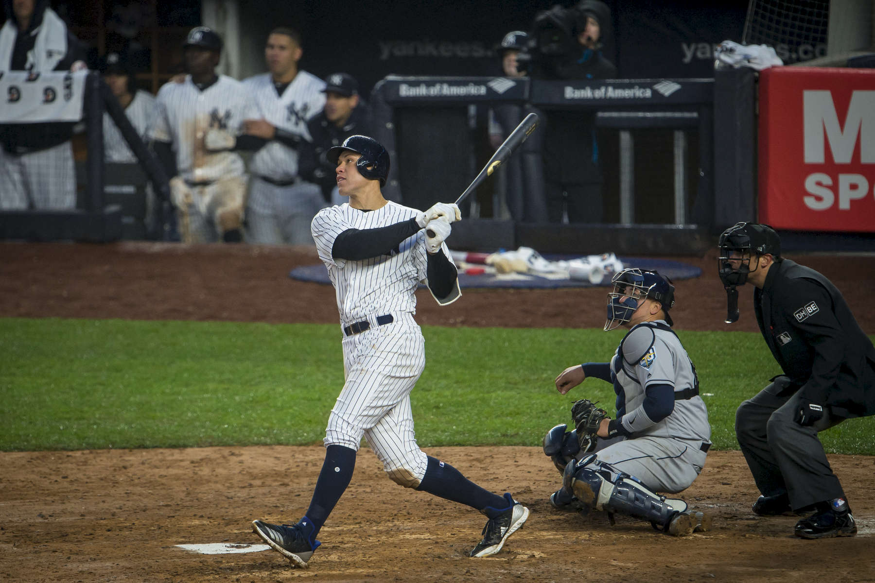 New York Yankees outfielder Aaron Judge hits the ball for another base hit as New York Yankees plays against the Tampa Bay Rays at the opening day at Yankee Stadium located at 1 East 161st Street in the Bronx, New York on Tuesday, April 3, 2018. (Anthony DelMundo/New York Daily News)