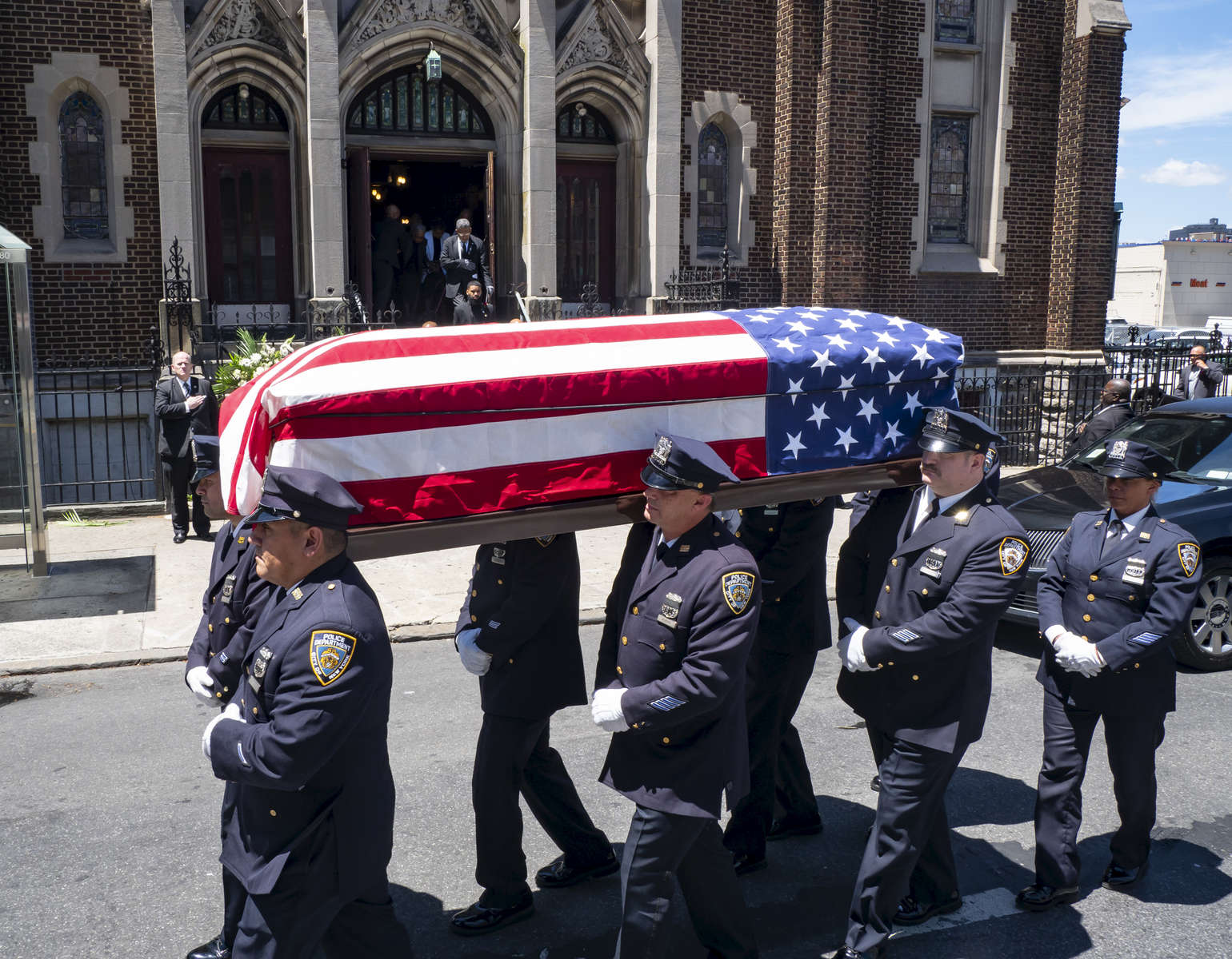 Family and love ones of retired NYPD Squad Commander Albert Dandrige gather at his funeral held St. Augustine Presbyterian Church located at 838 East 165th Street in the Bronx, New York on Tuesday, June 19, 2018. Dandridge, a trailblazing cop who served as one of the NYPD's first black commanding officers.