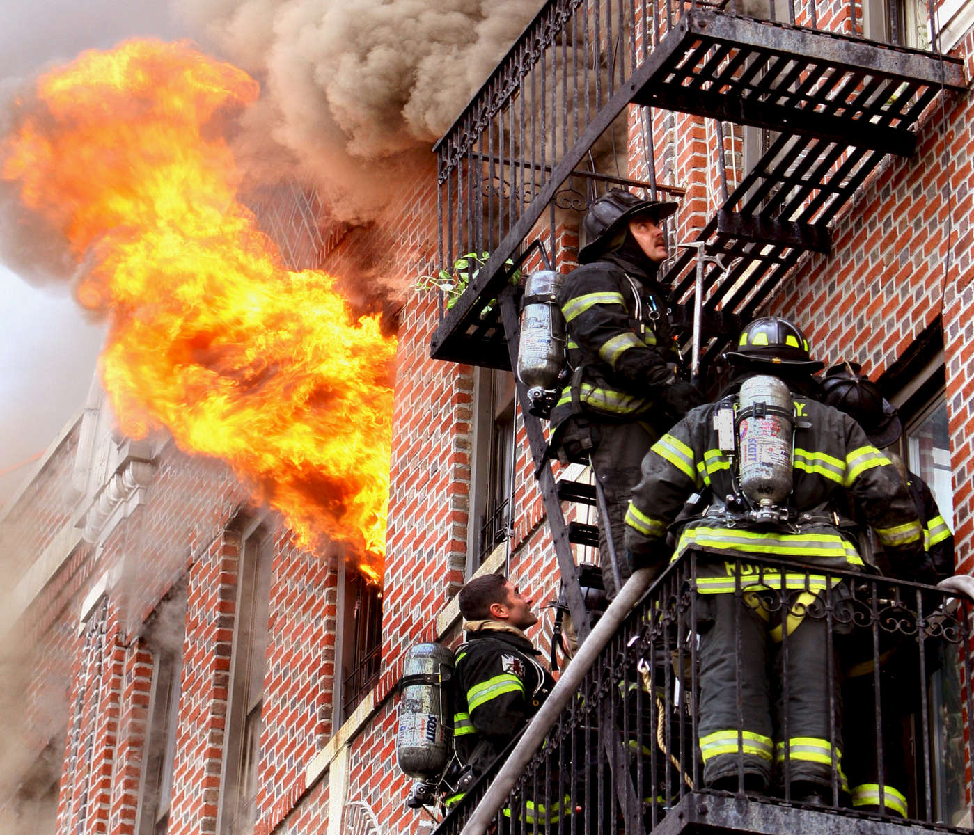 Firefighters battled a three-alarm blaze at 1299 Eastern Pkwy. in Brooklyn on Tuesday March 28, 2006.