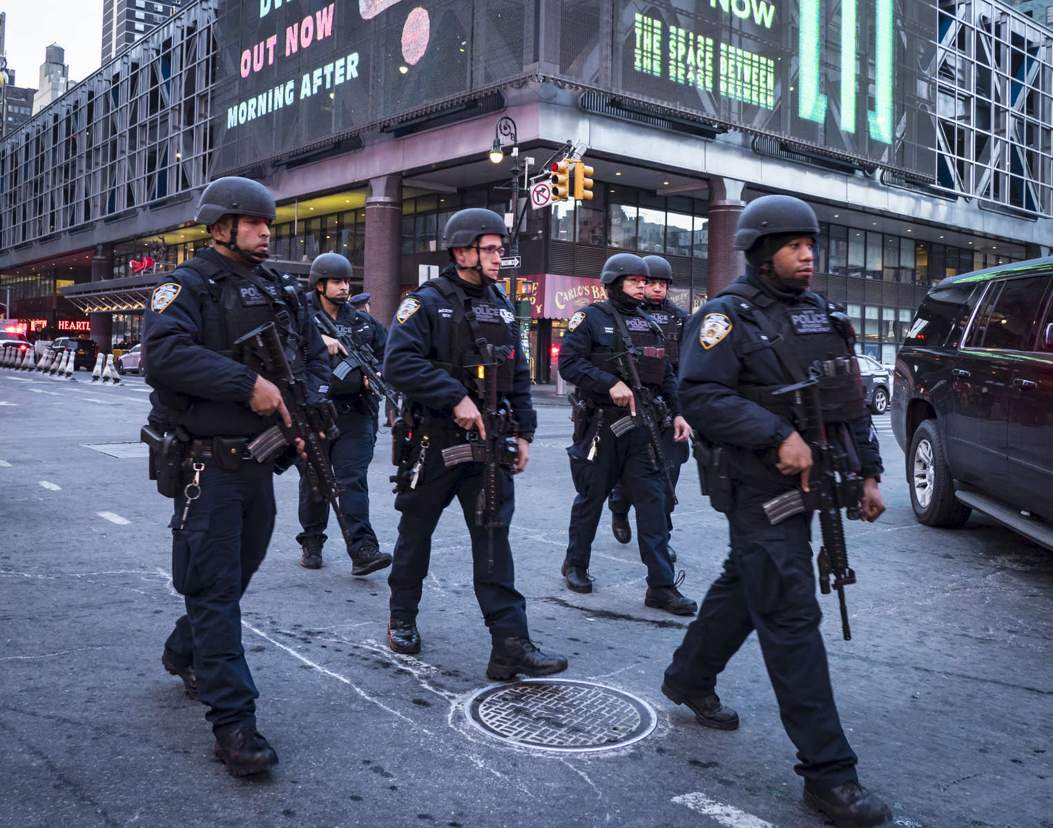 Members of the NYPD responded at the scene where suspected terrorist Akied Ullah, 27, detonated a pipe bomb in a subway passage between Times Square and Port Authority Bus Terminal on 42nd Street between 7th and 8th Avenue in Manhattan on Monday, December 11, 2017.