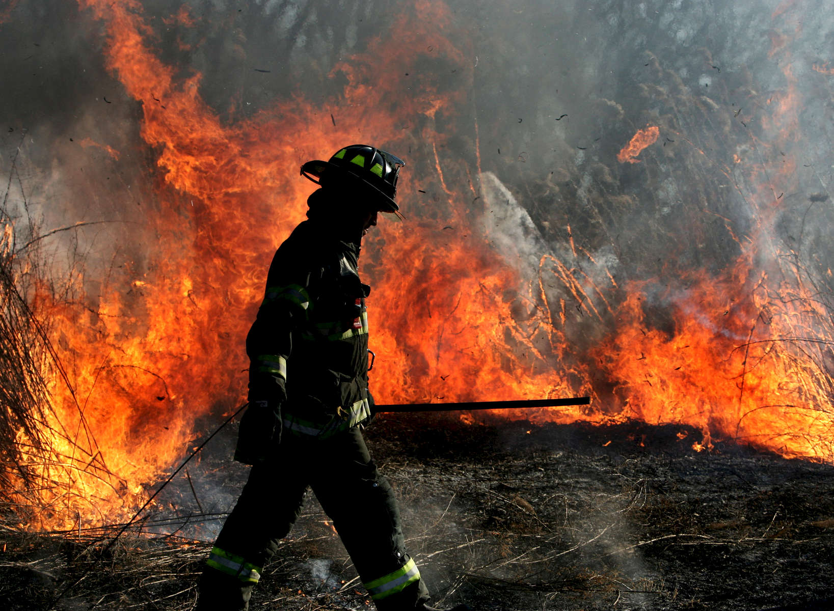 Firefighters battle a 2nd alarm brush fire in Kissena Park located at the corner of Parsons Boulevard and Booth Memorial Avenue in Flushing, Queens on February 11, 2007.