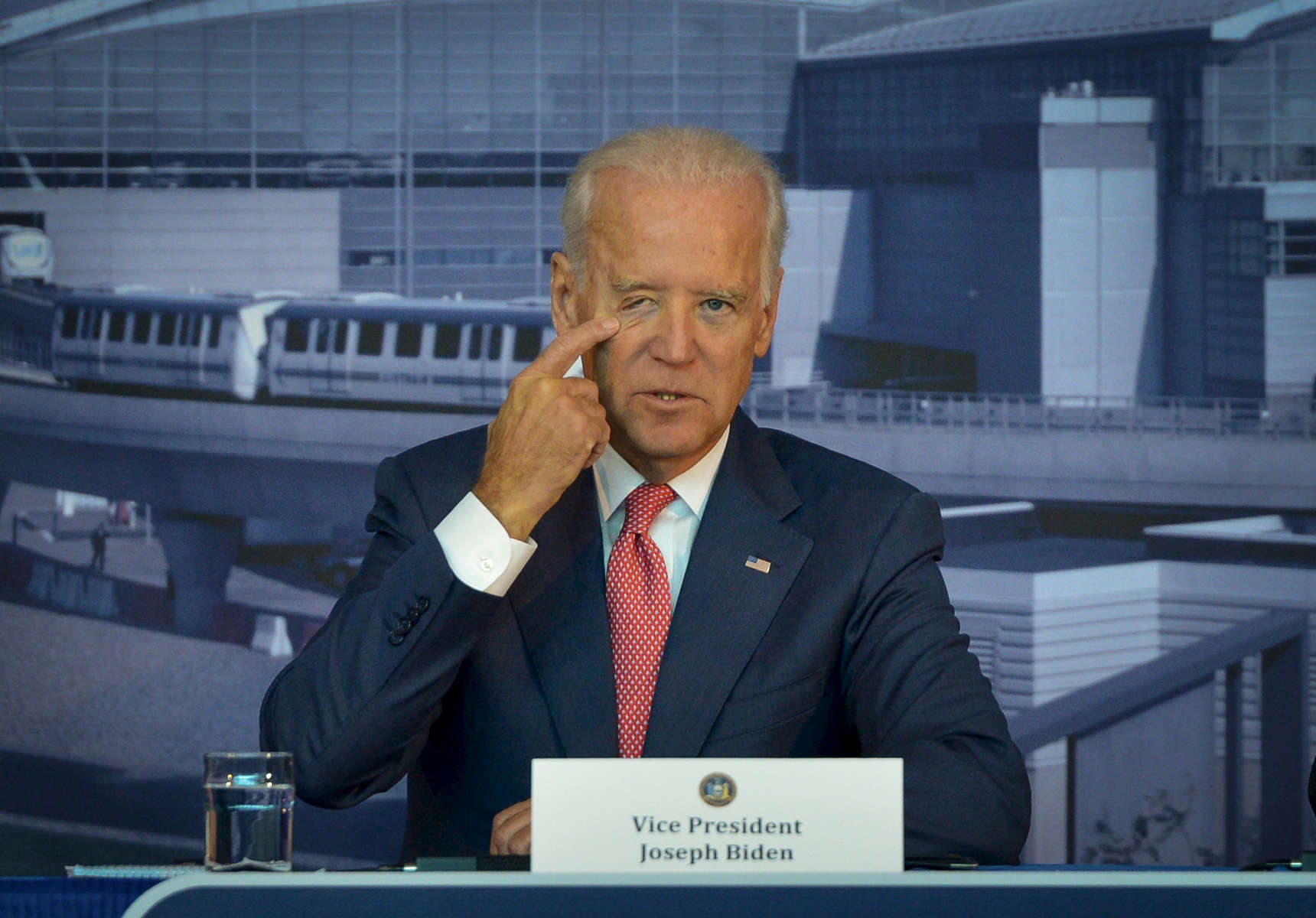 Vice President Joe Biden speaks at the New York State Governor Andrew Cuomo sponsored conference {quote}Modernize Our Airports: Gateways to New York{quote}  concerning infrastructure and modernization at Vaughn College of Aeronautics and Technology in Queens on Monday, October 20, 2014.