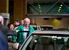 Former New York City Mayor Ed Koch leaves NewYork-Presbyterian Hospital/Columbia University Medical Center located at 177 Fort Washington Avenue in Manhattan, New York on Monday, December 10, 2012.