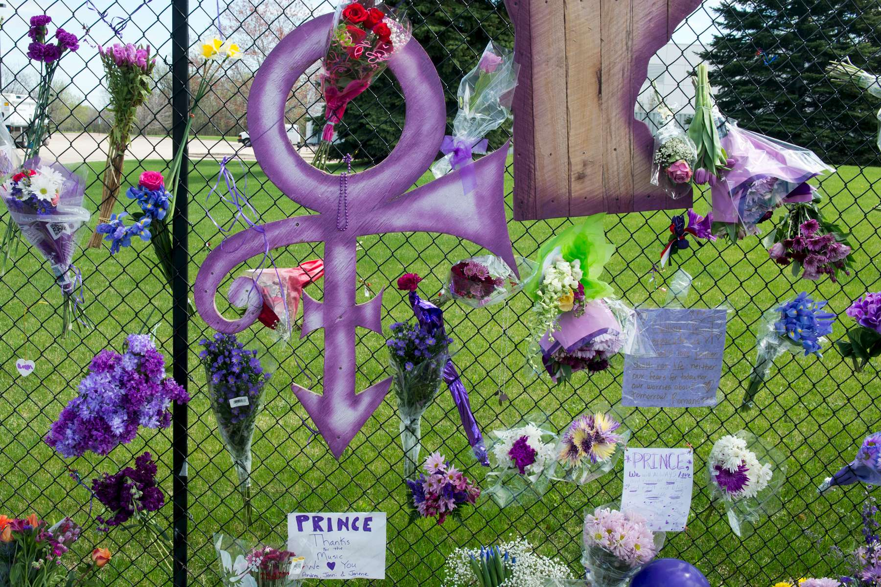 Hundreds of fans and supporters pay respect at the makeshift memorial dedicated to 57-year-old musician Prince, who died in his home studio in Paisley Park located at 7801 Audubon Road in Chanhassen, Minnesota on Saturday, April 23, 2016.