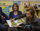 Mayor Bill de Blasio, Minority Leader of the United States House of Representatives Nancy Pelosi and Congresswoman Nydia Velázquez visit and read books to Pre-K class inside P.S. 123 Suydam located at 100 Irving Avenue in Brooklyn on Wednesday, April 6, 2016. United States House of Representatives Nancy Pelosi is promoting Pre-K for All as a program to emulate nationally as part of her women's and children's economic agenda.