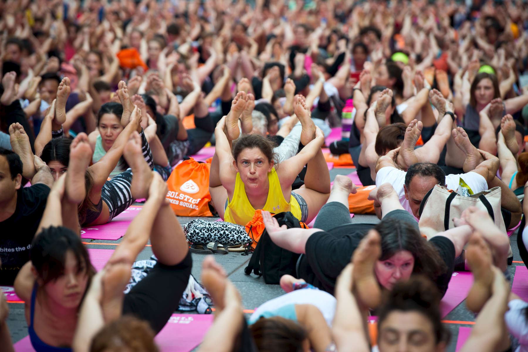 Thousands of yogis participate in yoga classes in Time Square to celebrate the summer solstice at the corner of West 44th Street and Broadway in Manhattan on Friday, June 20, 2016. The 14th annual Solstice in Times Square: Mind Over Madness Yoga - is a free, day-long outdoor yoga event hosted by the Times Square Alliance.