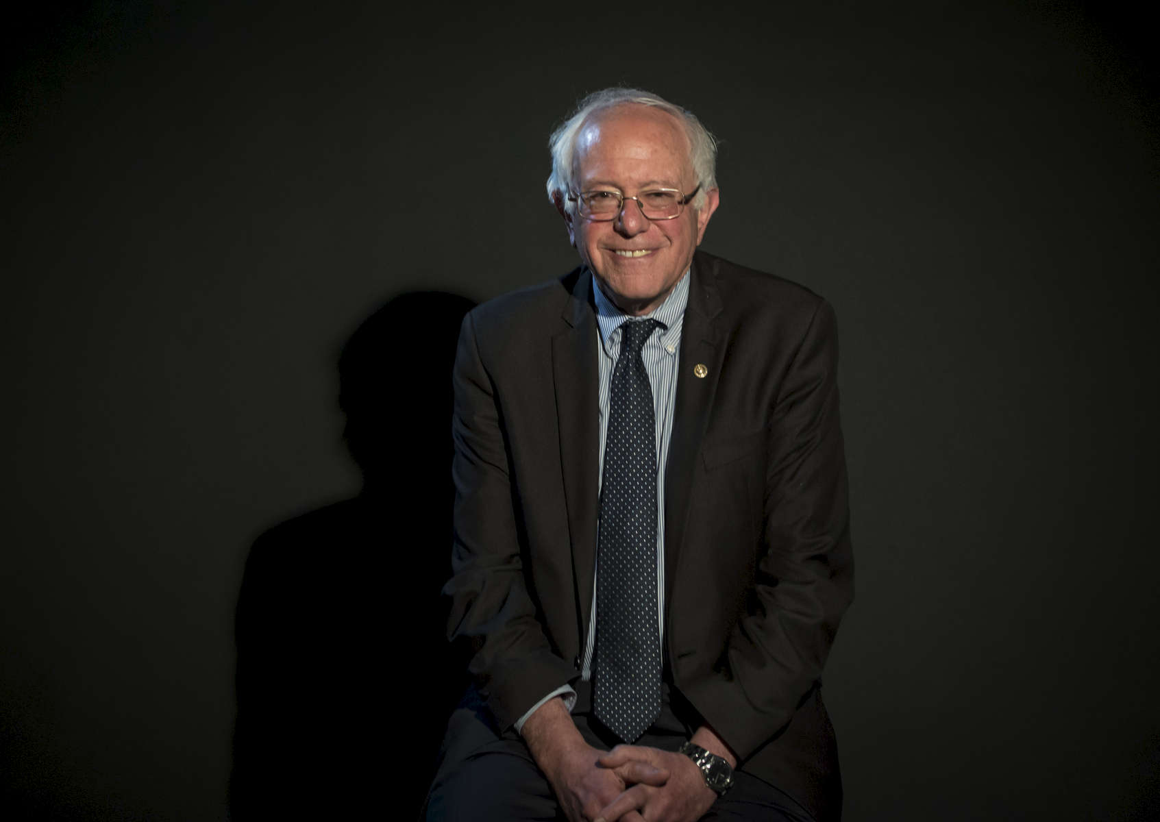 Democratic Presidential Candidate and current United States Senator from Vermont Bernie Sanders poses for photos as he visits the New York Daily News office located at 4 New York Plaza in Manhattan on Friday, April 1, 2016. Sanders who is competing against Hillary Clinton for the Democratic nomination for United States president, campaigns in New York as the state's Democratic primary approaches.
