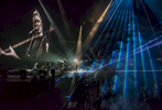 Roger Waters performs live inside Prudential Center located at 25 Lafayette Street in Newark, New Jersey on Thursday, September 7, 2017. The stage and the set are designed by creative director and set designer Sean Evans.