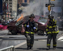 First-responders rush into the scene where deranged motorist Richard Rojas drove his car onto a crowded Times Square sidewalk and mowed down 23 passengers — including an 18-year-old Michigan woman Alyssa Elsman who died in front of her little sister along 7th Avenue from 42nd until 45th Street in Times Square, Manhattan on Thursday, May 18, 2017.