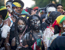 Parade participants fall in line to get through NYPD check point as they arrive at the annual J'Ouvert Parade held in Crown Heights, Brooklyn on Monday September 4, 2017. The pre-dawn festival of J'Ouvert that translates to {quote}day break{quote} is celebrated by people of West Indian decent to mark the start of the Caribbean carnival celebrations.