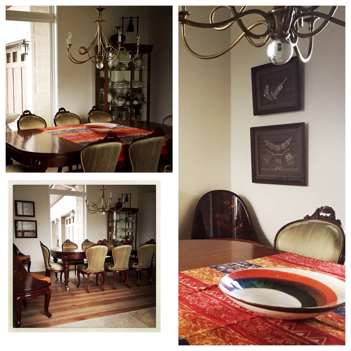 The Balinese sari flavours the rich wood tones collected in this dining room.