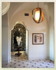 The Entry Hall as drawn featured simple arches.  I upgraded the look to mission arches, imagining that globe chandelier floating right through the top.