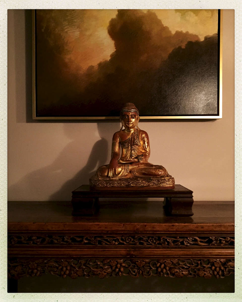I collected these pieces for a Zen welcome into the client's world.