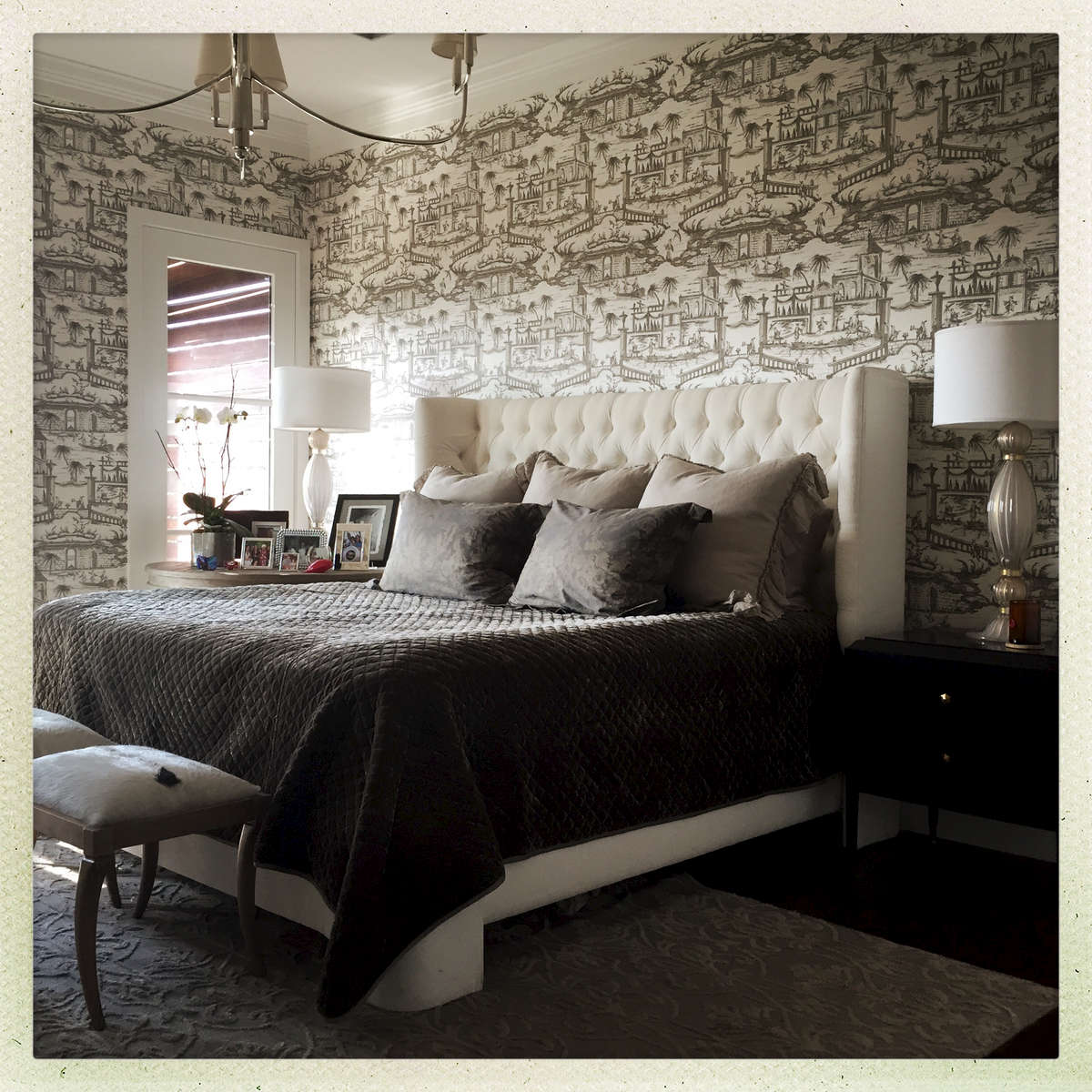 Silvered French wallpaper from France, the Harlowe bed, silk velvet and linen,  goat-skinned benches, and murano lamps...glamourous.