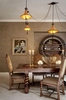 The wall plaster was infused with gold for luster.  The chandelier was left by a previous owner.  The chair fabric is from Place Textiles.