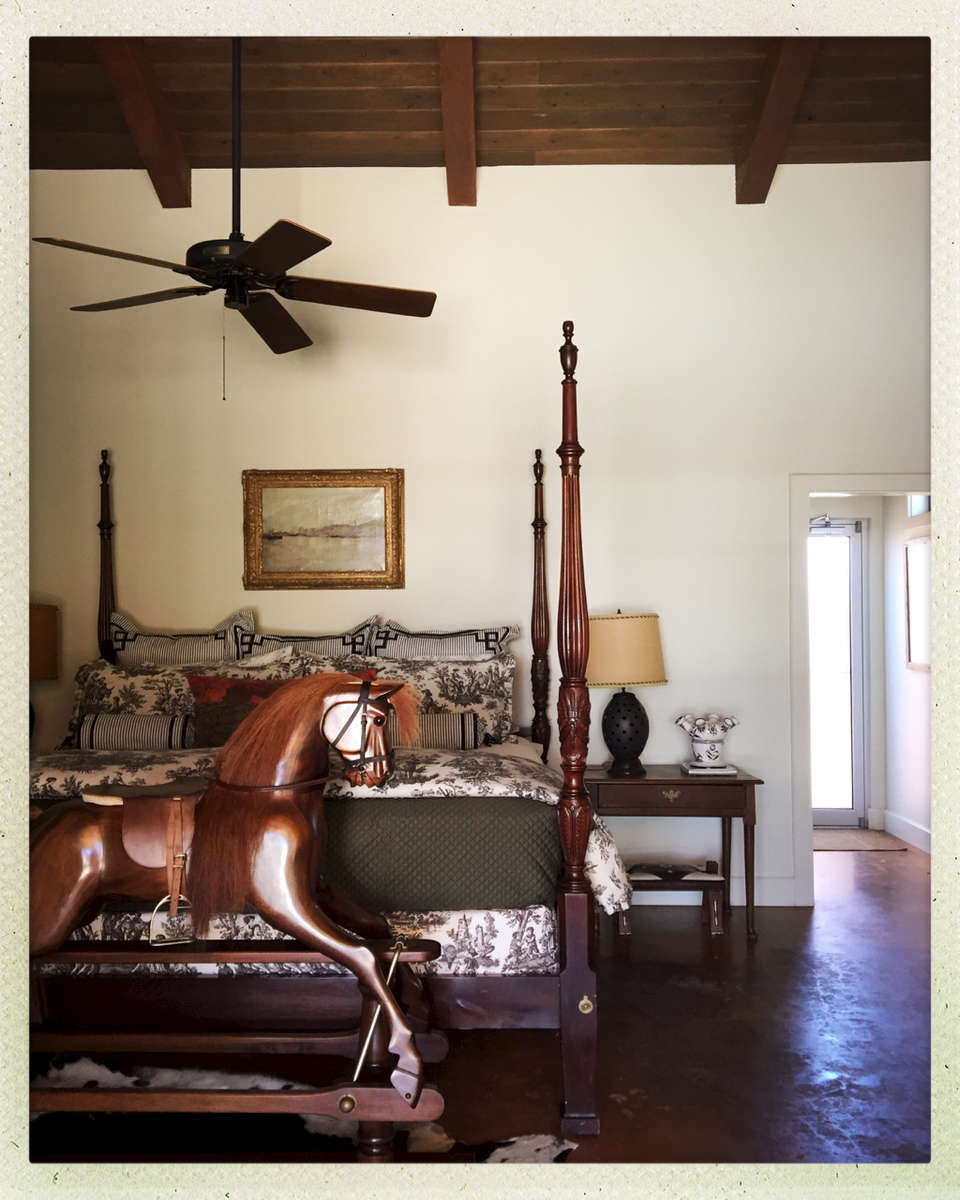 Rocking-Horse Toile Guest Room  © gregory