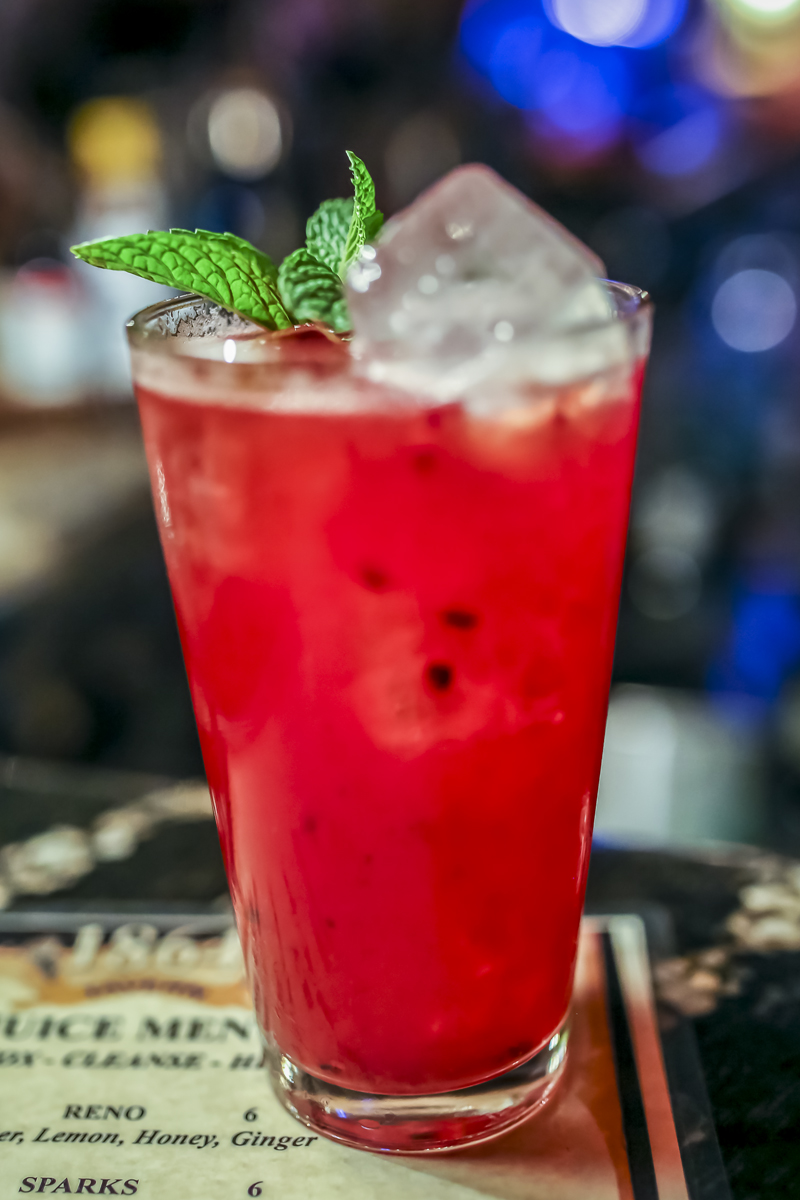 A specialty non alcoholic drink at the 1864 Tavern. 1864 features specialty non alcohol beverages from their juice bar. They also serve {quote}Omakase{quote} style drinks (chefs choice) like the blackberry, lemmon, local hony and soda special pictured here.